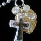 Two-Tone Layered Cross Charm Necklace on Large Ball Chain FREE SHIPPING Hammered