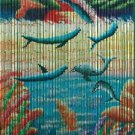 Natural Bamboo Beaded Curtain Dolphin  Beads Window Doors Room Divider Surf