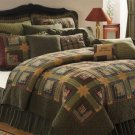 Tea Cabin KING Size Quilt Primitive Stain Green NEW Free Shipping Blanket