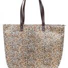 Large Leopard Zippered Shopper Beach Gym Tote Bag  Handbag Purse Shoulder  Brown