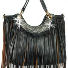 Large Fringed Shoulder Bag Tote Black Fashion Handbag Retro Trendy Hobo Fringe