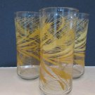 3- Libbey Golden Wheat Drinking Glasses Lot 3 Concave Shape Retro Tumblers Tall