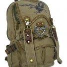 Canvas Backpack Olive Eagle Design Rusksacks Daypack School Bag Multipurpose New