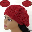 RED Crochet  Knitted Tam Hat  Free Shipping 3 BUTTON ACCENT Beret  Winter Cap
