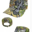 ADJUSTABLE LICENSED MOSSY OAK CAMO RHINESTONE CROSS WESTERN COWGIRL CAP HAT