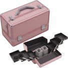 Pink Professional Beauty Case 6 Accordion Trays Aluminum Cosmetic 2 Brush Holder