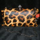 Cheetah Clutch Handbag Purse Rhinestone Clasp Print Hard Case Free Shipping New