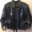 Open Road Leather Motorcycle Jacket Fringe Biker Thinsulate Large Black Vintage
