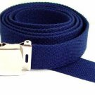 Men's NAVY  Military Canvas Web Belt Silver Buckle New Free Shipping
