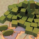 RISK Wooden Army Game Pieces Green Color Cubes Crafts Jewelry Wood Parts VTG