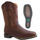 "AdTec 9555 11"" Western Pull On Work Boot Square Steel Toe Tumble Stockman Heel"
