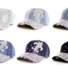 Fleur De Lis Rhinestone Fashion Bling Baseball Cap Hat Adjustable Denim