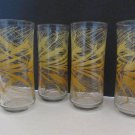 4- Libbey Golden Wheat Drinking Glasses Lot 4 Concave Shape Retro Tumblers Tall