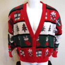 Ugly Xmas Sweater Christmas Trees Stockings Candy Cane XL Red Green Presents