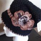 BLACK  Knitted Hat 3D Diamond Flower Women Winter  Crochet  Fashion  Fall Beanie