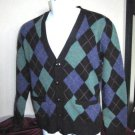 Polo Ralph Lauren Medium Wool Argyle Library Cardigan Sweater  Elbow Patches