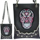 Mini Bag Skull Rhinestone Bling Messenger Bag Purse Handbag Gray Shoulder Waist