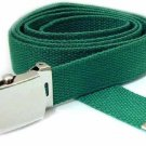 Men's Kelly Green  Military Canvas Web Belt Silver Buckle New Free Shipping
