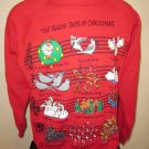 Ugly Xmas Sweatshirt 12 Days Of Christmas Red EZL One Size Fits All Vintage 1993