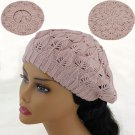PINK  Crochet  Knitted Tam Hat  Free Shipping NEW  Warm Winter  Woman's Ladies