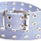 Canvas 2 Hole With Silver Grommet Belt in Light Blue
