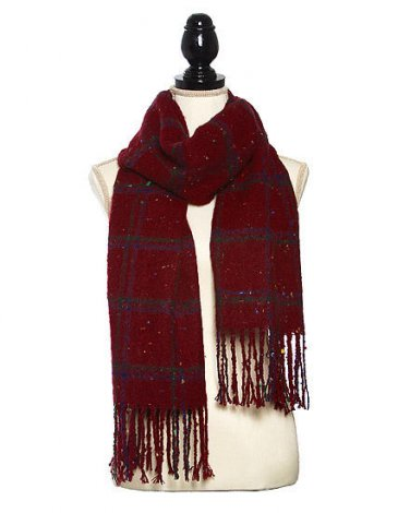 Acrylic Knit Boucle Multi Check Scarf Scarves Shawl Fringe Trim Wrap Winter Red