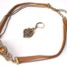 Brown Leather Necklace Matching Earrings  Free Shipping Fashion Jewelery