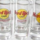 "3- Hard Rock Cafe Tall Shot Glass Jigger 4"" Lot Of 3 Philly Baltimore Lake Tahoe"