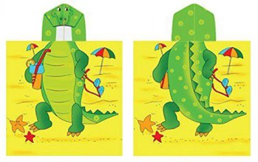 Alligator Hooded Beach Towel Kids  Bath Costume Cotton Pool Cover Up Robe Fun