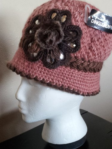 PINK  Knitted Hat 3D Diamond Flower Women Winter  Crochet  Fashion  Fall Beanie