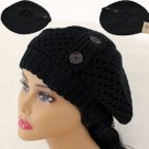 Black Crochet  Knitted Tam Hat  Free Shipping NEW 3 BUTTON ACCENT Warm Winter