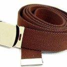 12- Men's BROWN Military Canvas Web Belts Silver Buckle Army Wholesale Lot Dozen