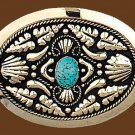 "German Silver Belt Buckle w/ Turquoise Stone 3-3/4"" x 2-3/4"" Free Shipping New"