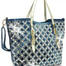 Rhinestone and Gem Design Woven Denim Handbag Fashion Hobo Purse Bag Bling