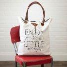 Recycled Canvas Tote Shopper Beach Gym Handbag Purse Enjoy The Little Things New