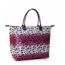 Large  Pink & White Leopard Shopper Beach Gym Tote Bag Handbag Purse Folding