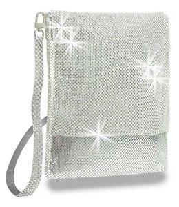 Rhinestone Accent Metal Mesh Cross Body Sling Handbag Purse Bling Messenger Bag