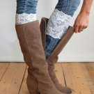 Stretch Lace Boot Cuffs White Lace Topper Boot Cuff Leg Warmers USA Seller New