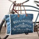 Boulangerie Fringed Beach Tote Recycled  Canvas Shopper Gym  Handbag Purse Blue