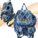 Blue Jean Backpack Purse Handbag Frayed Faded Washed Fashion Rucksack Bookbag