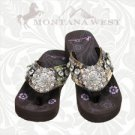 Montana West Camo Floral Flip Flops Women Wedge Sole Sandals Bling Concho Lime