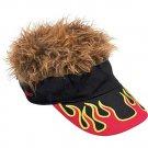 Flair Hair Visor Hat Golf Brown Flame New Wig Cap Fake Spike Spikey Gag Goof