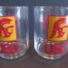 Pair Of USC University of Southern California Trojans Tumblers Cocktail Glasses