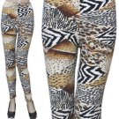 Aztec Brushed Leggings Animal Print  One Size Fits Most Stretch Pants Spandex