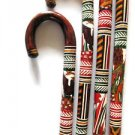 Hand Carved Wooden Cane Walking Stick Mexican Aztec Hand Painted Mexico new