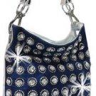 Rhinestone and Large Gem Accented Fashion Hobo Blue Bling Handbag Purse Bag New