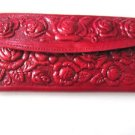 Ladies Leather Wallet Mexican Tooled Flowers Mirror Credit Cards Coin Purse