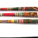 Hand Carved Aztec Bat Pinata Stick Mexico Mexican Hand Painted Wooden Baseball