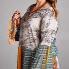 Grey Tunic Fashion Dress top Velzera Round Neck Bell Sleeve Fringe Small-3XL