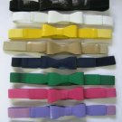 "1"" Wide Elastic Skinny Belt With Matching Patent Leather Bow Fashion Woman LARGE"